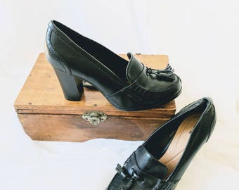 "Vintage Witchy Loafer Pumps - size 8.5 3"" heel"