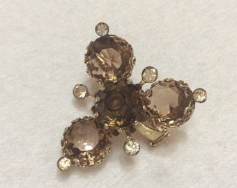 Vintage amber colored glass  clear rhinestones clover cluster brooch pin