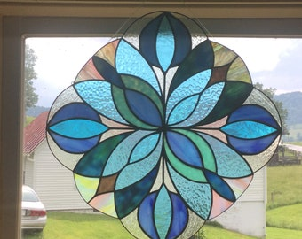 "Hand Made Stained Glass Window ""Kelidescope"" in Blue"