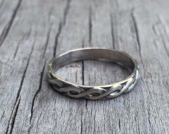 Sterling Silver Ring, Silver Band Ring, Stacking Ring, Silver Ring, Silver Stacking Ring, Vintage Look Ring, Thin Band Ring, Silver Band