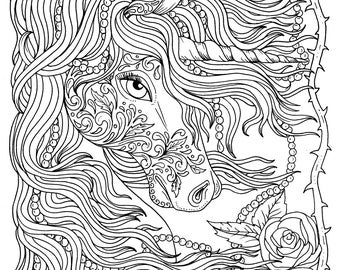 Unicorn and Pearls Fantasy Coloring Page Adult Coloring Instant download Art
