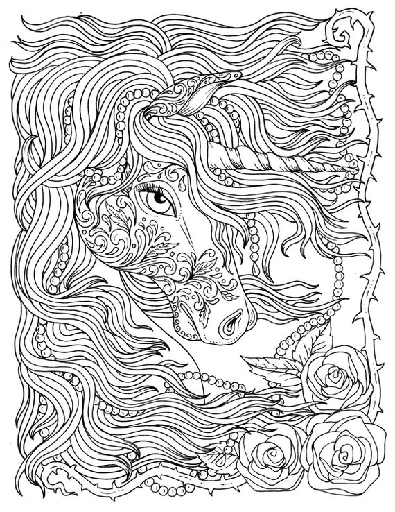 Unicorn and Pearls Fantasy Coloring Page Adult Coloring