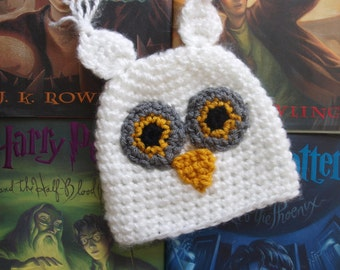 Harry Potter inspired Hedwig hat, Hedwig inspired baby hat, Hedwig hat, owl hat, snowy owl hat, Hedwig owl beanie