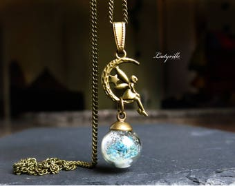 Necklace - Fairy in the moon with glittering snow and blossoms