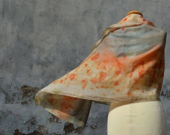 Light scarf in light blue, orange, merino wool, scarf, eco-print, hand dyed, eucalyptus