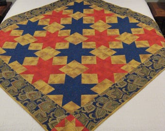 Handmade Star Christmas Quilt, Christmas throw, Red and Blue Throw