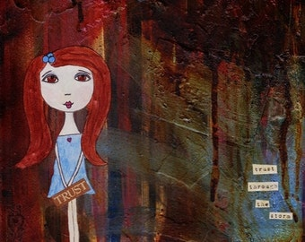 SALE Trust Through the Storm - Inspirational Healing Fine Art Print - Whimsy Brave Girl Red Hair Hope Affirmation Paper Doll Wall Decor
