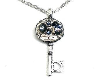 SALE, Steampunk, Key Necklace, Blue Crystal Key,Edwardian Fantasy,Steam Punk Jewellry,Swarovski Crystals,Neo Victorian,Cosplay Necklace
