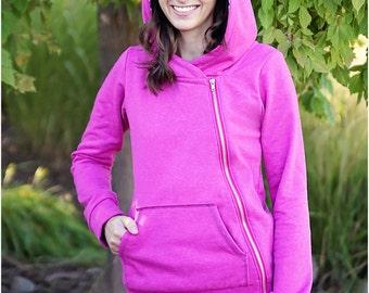 Hyde Park Hoodie: Women's Asymmetrical Zip Hoodie PDF Sewing Pattern