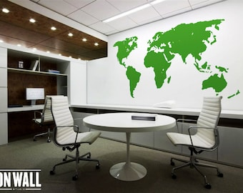 Large Vinyl wall World map decal - Removable World map mural  wall sticker  - WM001