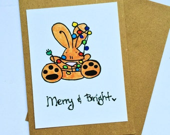 CLEARANCE: Merry and Bright Bunny card