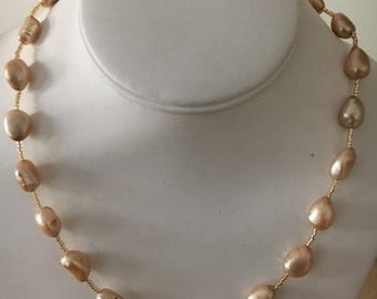 Champagne Colored Freshwater Pearls and Gold Necklace