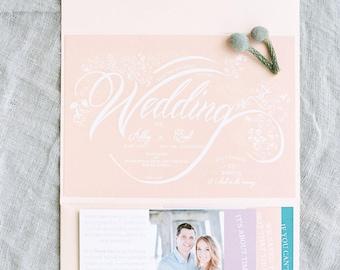 Elegant, colorful, pastel, beach, summer or spring Wedding Invitations Sample Card