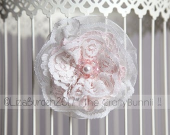 Bridal Bridesmaid Flower Girl Prom Cream Blush Pink Lace Beaded Flower Hair Clip Wedding Accessories Floral Corsage Clip