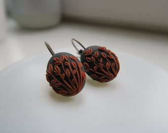 Wheat field unique earrings, polymer clay