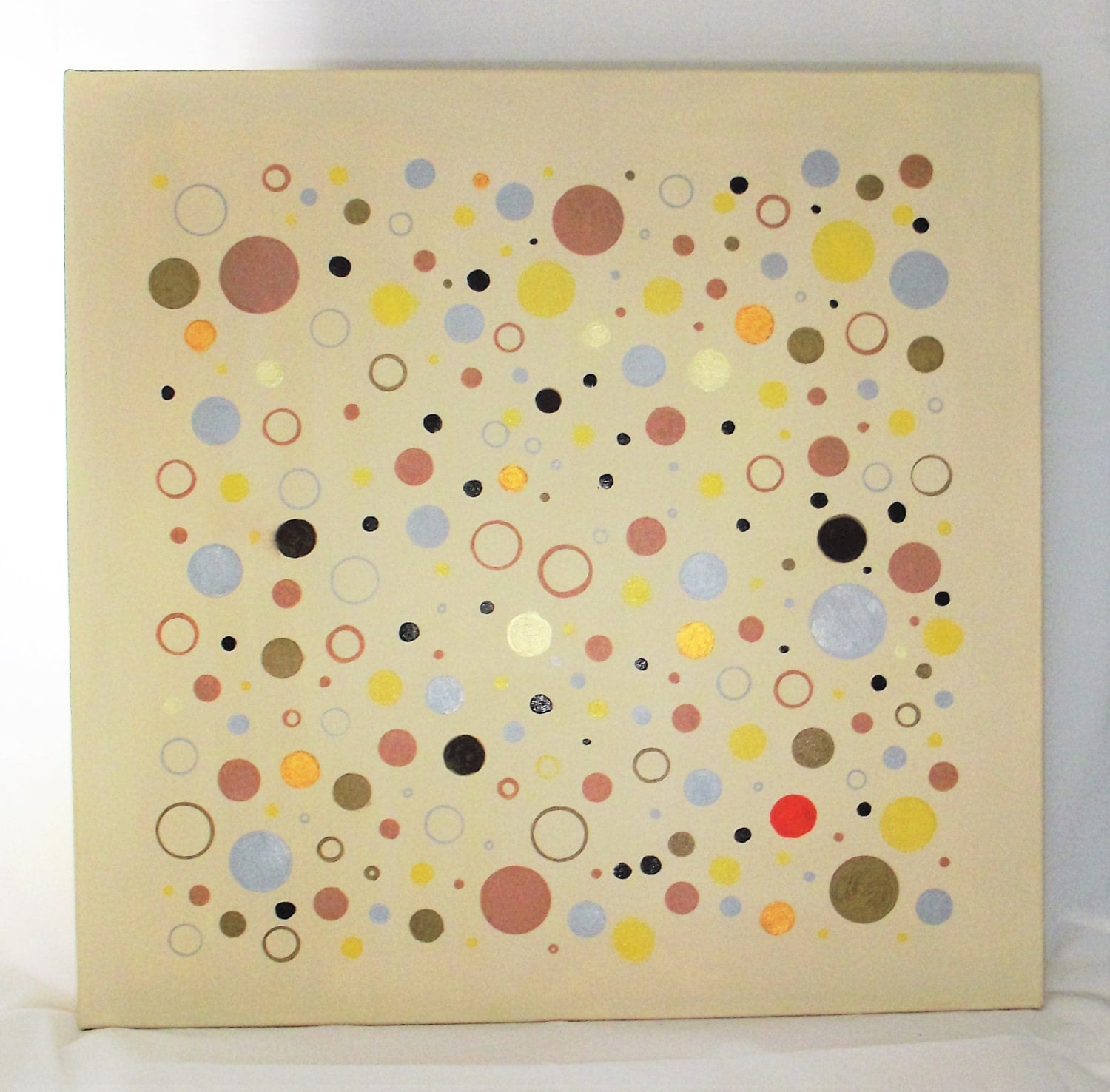 Abstract Wall Art Circles Spheres Neutral yellow brown gold