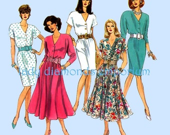 Simplicity 8220 Womens V-neck Dress Slim or Flared Skirt Kimono Sleeve size 12 14 16 18 Bust 34-40 Plus Size Vintage Sewing Pattern Uncut FF
