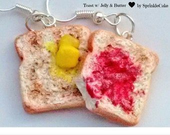 Toast with Butter and Jelly Earrings - Miniature Food Jewelry - Inedible Jewelry, Toast Jewelry, Toast Earrings - Breakfast Jewelry -Kawaii
