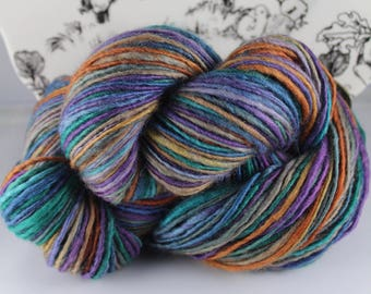 Handspun Yarn Gently Thick and Thin DK Single Blue Faced Leicester 'Mixed Laundry'