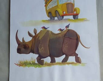 Rhino blocking coaches of tourists and travelers