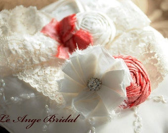 Wedding Garter Set, SILK Garter set,  Bridal Garter set, Coral garter set / Vintage garters / Lace garters/ Bridal garter/ Ivory garter