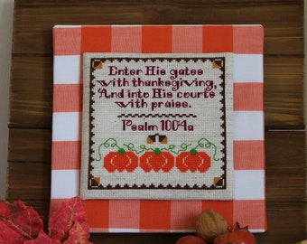 Thanksgiving Cross Stitch Pattern - Give Thanks - Instant Download PDF Pattern