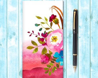Travelers Notebook Insert, Midori Insert, Bullet Journal, Fauxdori Insert, Traveler's Notebook Refill, Watercolor Boho Flowers
