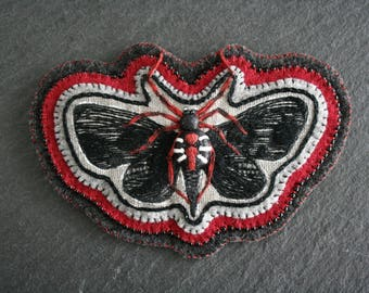 Black Widow Spider Moth - Moth Patch - Spider Patch - Embroidered Patch - Sew on Patch - Embroidery Art - Hand Embroidery - Textile Art