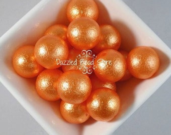 20mm acrylic WRINKLE PEARL BEADS - orange~chunky bubblegum beads