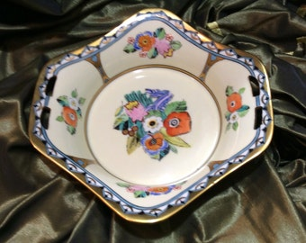 Hand Painted Art Deco Floral Noritake Bowl With 24K Gold Decoration
