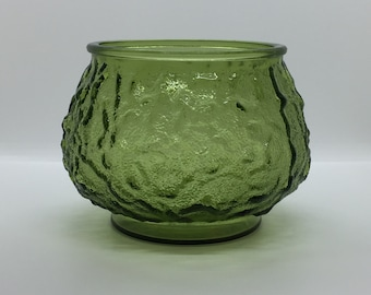 Vintage E.O. Brody Co Green Textured Glass Vase, Bowl, Dish