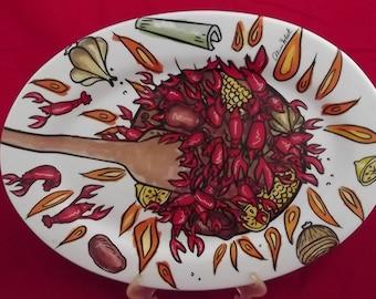 "Crawfish Boil 18"" Porcelain Oval Platter"