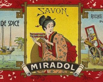 French Vintage Soap Label Savon Miradol jpeg instant digital download