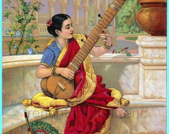 antique illustration seated indian woman playing the sitar DIGITAL DOWNLOAD