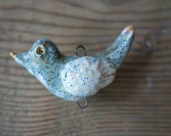 Ceramic connector -pendant Bird.Ceramic handmade