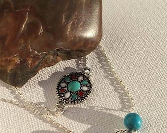 Double Strand Necklace/ Silver Necklace/ Turquoise Necklace