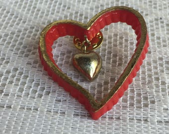 Vintage Plastic Red and Gold Heart Pin / Double Heart Shaped Brooch / Vintage Jewelry