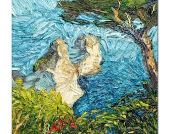 Seascape painting, italian coast oil painting on stretched canvas, cliffs,  mediterranean seascape, capri, impressionist style art