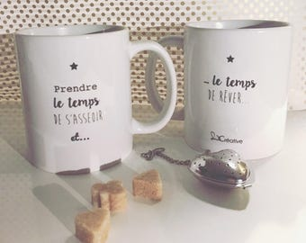 White mug with message and stars take the time to sit and dream time