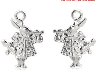 "10 Pieces Double Sided Silver Tone Rabbit Charms, 19mm x14mm(6/8""x 4/8"")"