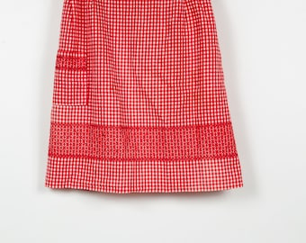 Vintage Red with White Gingham Half Apron,Embroidered, Valentine's Day