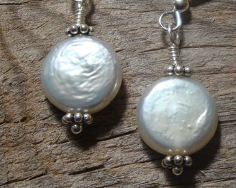 FOREVER YOURS, FaithfullyBridal Collection - Coin Pearls and Sterling Silver Simplicity Earrings - Handmade by Dorana