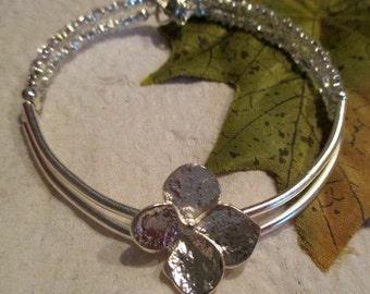 Filigree and Flowers Beaded Silver Bracelet