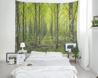 Nature Tapestry, Forest Wall Blanket, Tree Wall Art, Forestry Tapestry,  Tree Tapestry