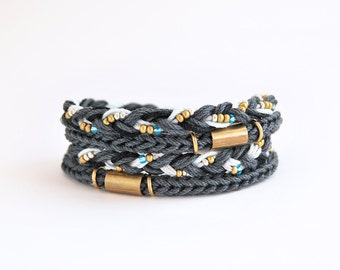 Charcoal gray wrap bracelet, cord bracelet, knit bracelet, braid bracelet with brass tubes