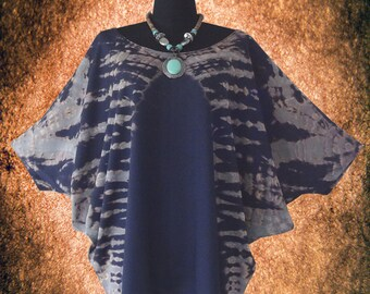 Symmetric Bleach Tie dye Dolman Sleeve Top blouse shirt Batwing Tee