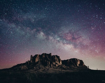 Superstition Mountains Milky Way Photographic Print