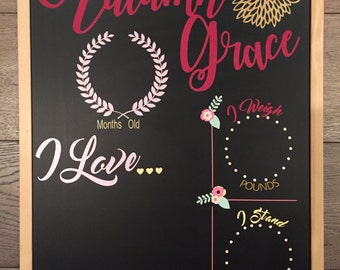 Baby's First Year Girl Monthly Milestone Chalkboard Re-Usable shower gift growth chart