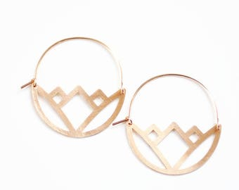 Geometric Lotus Earrings | Lotus Hoops | Gold Lotus Jewelry | Silver Lotus | Flower Earrings | Floral Earrings | Brass Gold Filled Earrings