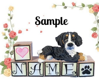 Bernese Mountain Dog PERSONALIZED with your dog's name on blocks by Sally's Bits of Clay
